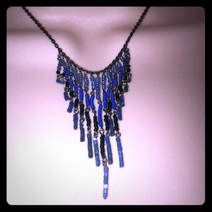 Jewelry - Black And Blue Fringe Chandelier Necklace